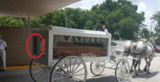 Рядом с гробом засняли лицо покойницы